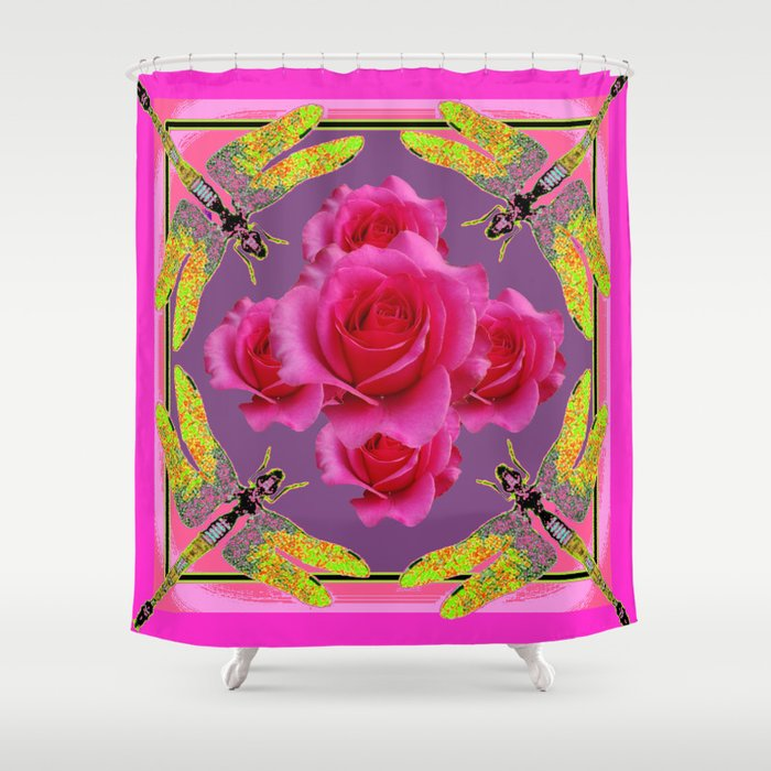 Fuchsia Pink Roses Gold  Dragonflies Shower Curtain