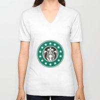 starbucks V-neck T-shirts featuring starbucks parody by Cream5