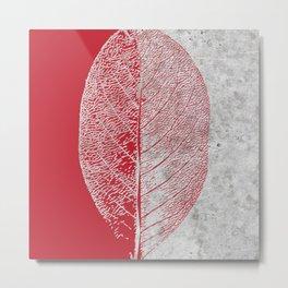 Natural Outlines - Leaf Red & Concrete #635 Metal Print