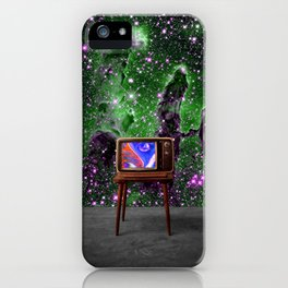 Tuned In - Vintage TV Set in Space Collage iPhone Case