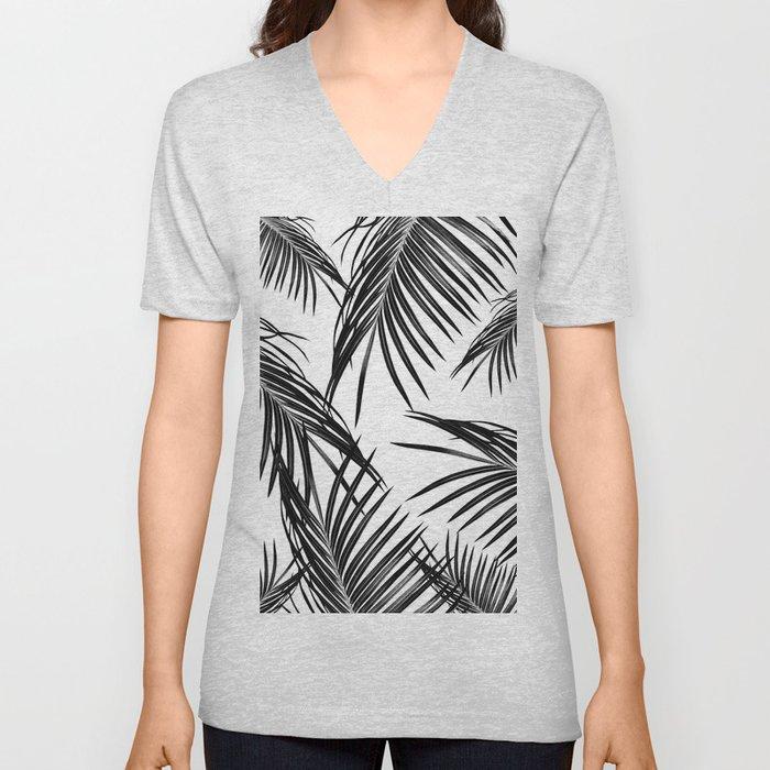 Black Palm Leaves Dream #1 #tropical #decor #art #society6 Unisex V-Neck