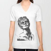 sugar skull V-neck T-shirts featuring Sugar Skull by Lena Safaniouk