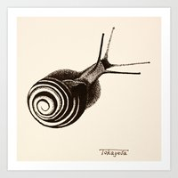 snail Art Prints featuring  Snail. by Assiyam