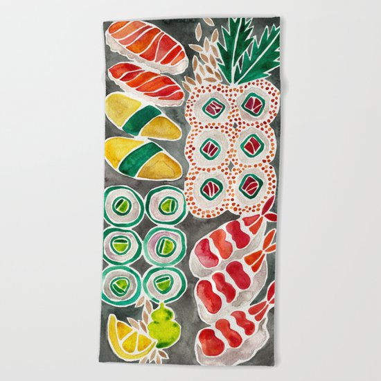 Sushi Collection – Black Platter Beach Towel