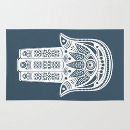 Hamsa Blue Linen Rug