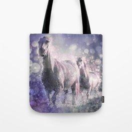 Blue Wild Horses Mixed Media Art Tote Bag