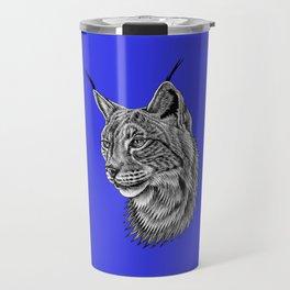 Eurasian lynx - wild cat - ink illustration - navy blue Travel Mug