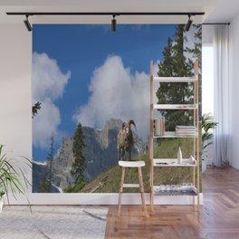 Ram Against Mountain Backdrop Wall Mural