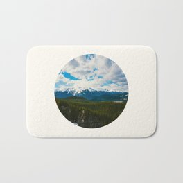 Mid Century Modern Round Circle Photo Arctic Landscape In The Summer Pine Forest Snow Mountains Bath Mat