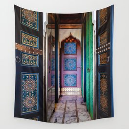 Moroccan painted doors and marble hallway in Marrakech, Morocco Wall Tapestry