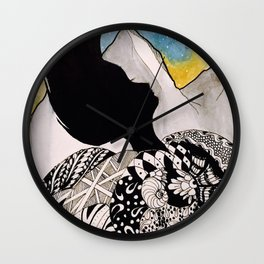 Woman in the Mountains Wall Clock