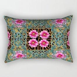 Turquoise-black gold & Fuchsia Dahlias Turquoise Art Nouveau Rectangular Pillow