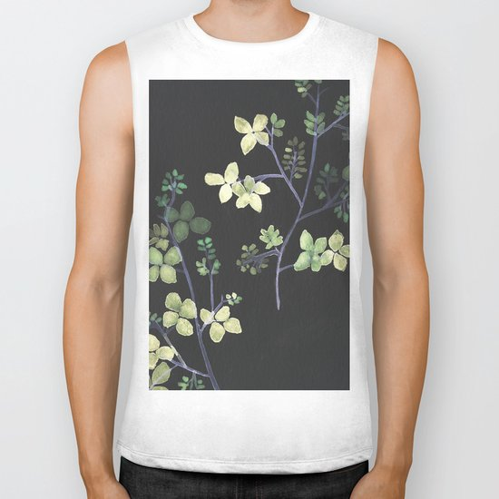 Olive Flowers Biker Tank