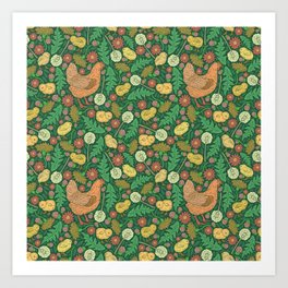 Orange hen with yellow chickens and dandelions on green background Art Print