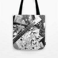 records Tote Bags featuring Records by Emily Morris
