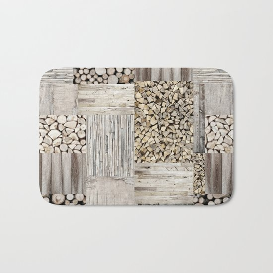 Wood Collage rustic weathered Bath Mat
