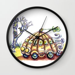 Punky Pumpkin Car for fast safe Halloween Carpool Trick or Treating Wall Clock