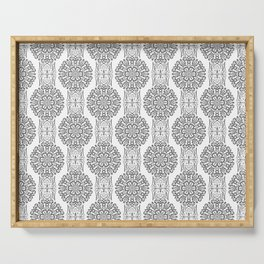 Gray white Damask ornament . Serving Tray