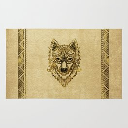 Tribal Wolf Burn Edge on canvas Rug