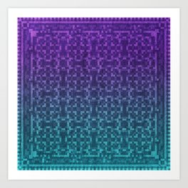 Pixel Patterns Green/Purple Art Print