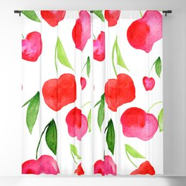 Watercolor cherries - red and green Blackout Curtain