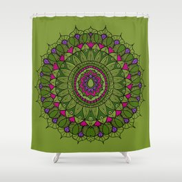Bohemian Mandala in Green with Pink and Purple Shower Curtain