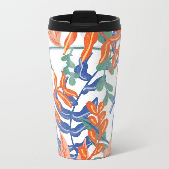 Abstract Tropical Pattern Metal Travel Mug