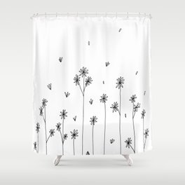 Simple Garden Doodle Art Shower Curtain