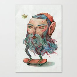 Bluebeard Skater and a takeaway pet Canvas Print