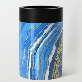 Cobalt blue and gold geode in watercolor (2) Can Cooler