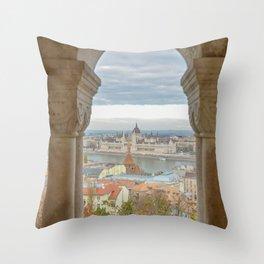 Fisherman's Bastion Budapest Hungary view Throw Pillow