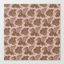 Pegasus Pattern Dusty Rose and Brown Canvas Print