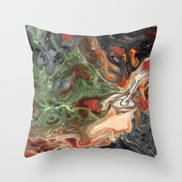 Green Rust Black Brown Lava Flow Throw Pillow