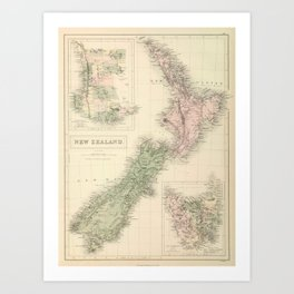 Vintage Map of New Zealand (1854) Art Print