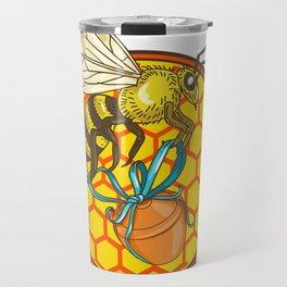 Bumblebee Carrying Honey Pot Beehive Circle Travel Mug
