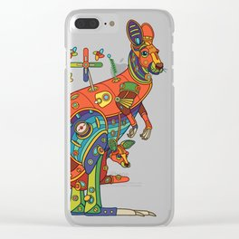Kangaroo, cool wall art for kids and adults alike Clear iPhone Case