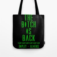 aliens Tote Bags featuring Aliens by SwanniePhotoArt
