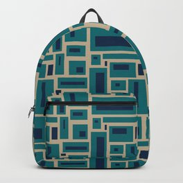 Geometric Rectangles in Navy, Teal and Tan 2 Backpack