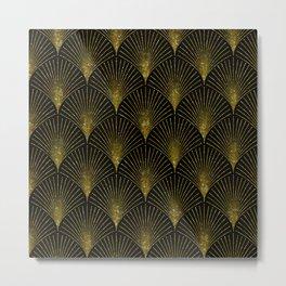 Back and gold art-deco geometric pattern Metal Print