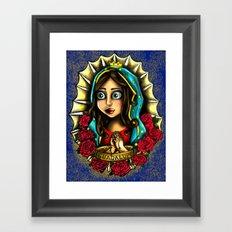 Lady Of Guadalupe (Virgen de Guadalupe) BLUE VERSION Framed Art Print