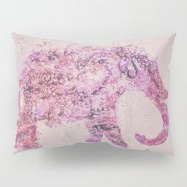 Pink Elephant Mixed Media Art Pillow Sham
