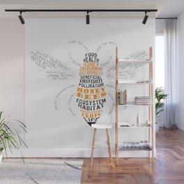 Honey Bee Word Cloud Wall Mural