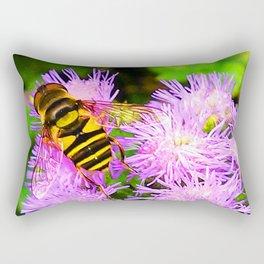 Bee on Ageratum Rectangular Pillow