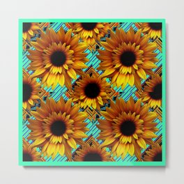 ANTIQUE GOLDEN SUNFLOWER TURQUOISE MODERN ART Metal Print