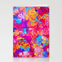 jazzberry Stationery Cards featuring FLORAL FANTASY Bold Abstract Flowers Acrylic Textural Painting Neon Pink Turquoise Feminine Art by EbiEmporium