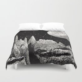 View of Earth from a very rocky moon - 1911 Space Landscape Fantasy Science Fiction Landscape Astro Duvet Cover