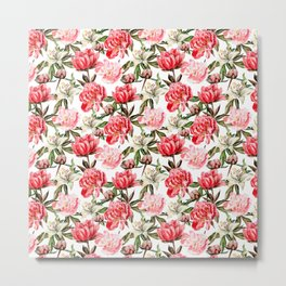 Peonies and Lilies - flower pattern no 1 Metal Print