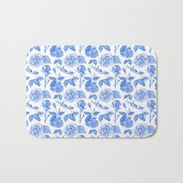 Blue Roses Watercolor Bath Mat
