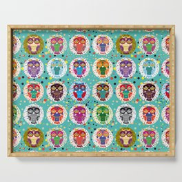 funny colored owls on a turquoise background Serving Tray