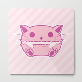 Pink Kawaii Cat Macaroon Metal Print